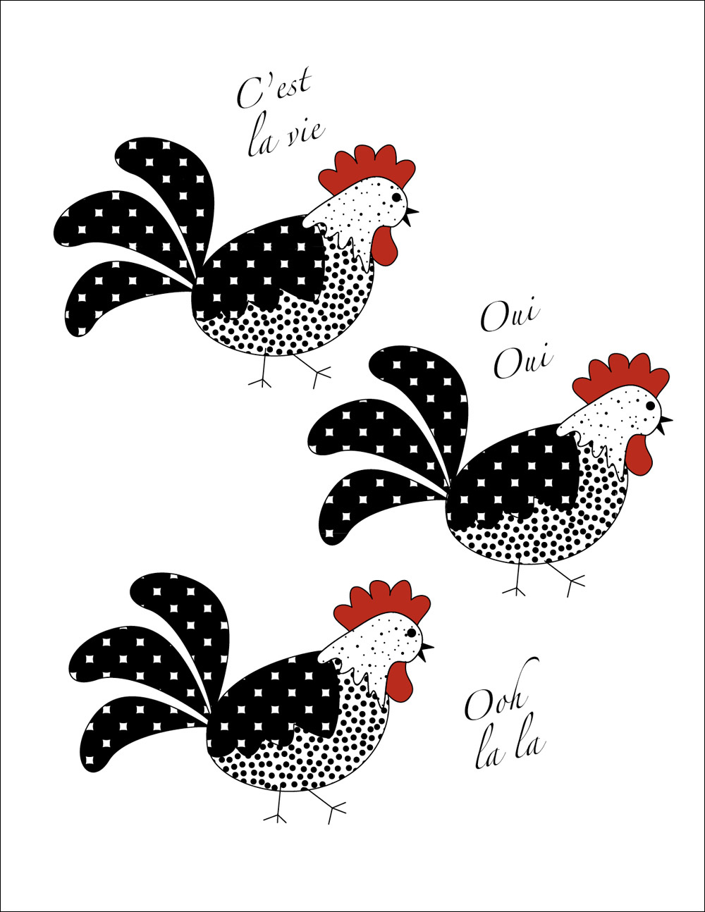 Three French Hens notecards