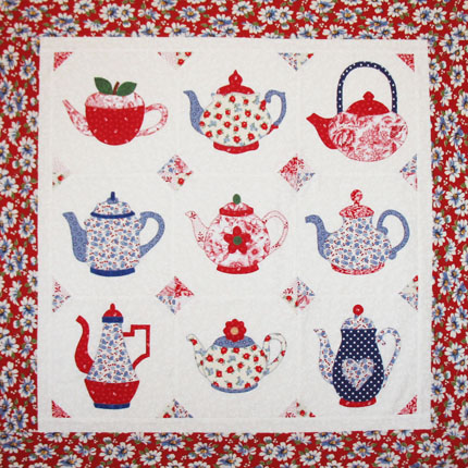 Teapot Applique Quilt Pattern by QuiltedToATea on Etsy