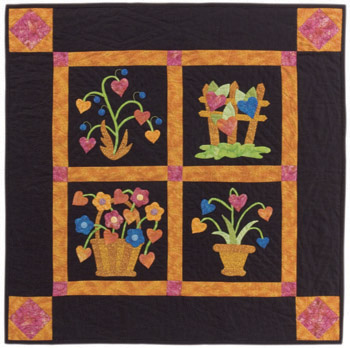 Pam Crooks' Tropical Garden Hearts quilt